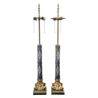 Pair of Aesthetic Movement Cloisonne and Bronze Table Lamps For Sale