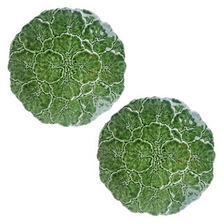 Olfaire Green Majolica Geranium Leaf Plates - Set of 2 For Sale