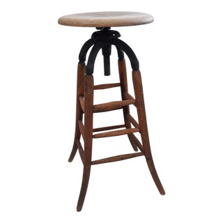 Vintage Industrial Wood and Cast Iron Adjustable Drafting Stool For Sale