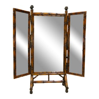 Theodore Alexander Faux Bamboo 3-Way Full-Length Cheval Floor Mirror For Sale