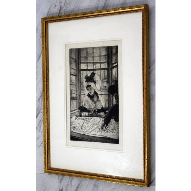 Illustration Vintage Antique James Tissot Histoire Ennuyeuse Etching Dated 1878 For Sale - Image 3 of 9