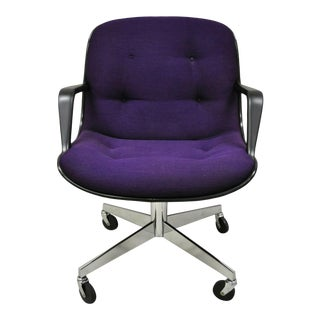 Vintage Steelcase Mid Century Modern Purple Rolling Office Desk Computer Chair For Sale