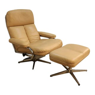 Mid Century Modern Chrome & Leather Recliner Chair and Ottoman Set - a Pair For Sale