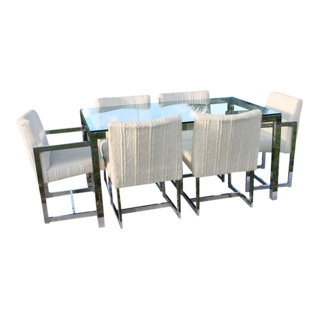 Milo Baughman for DIA Mid-Century Chrome Table & Chairs Dining Set - Set of 7 For Sale