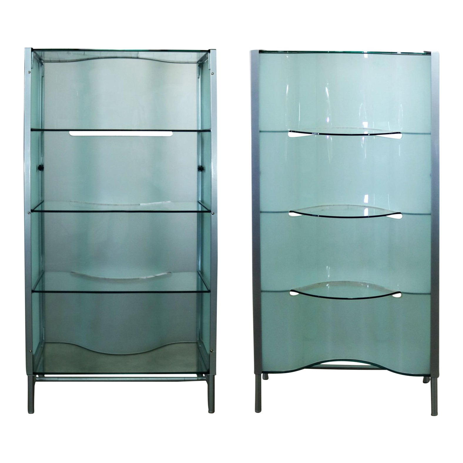 Modern Dual Sided Glass and Metal Enclosed Display | Chairish