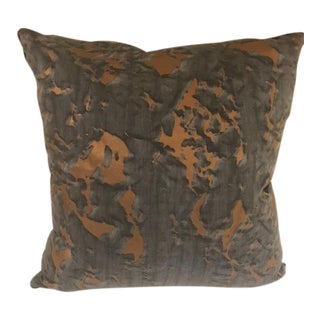 Fortuny Burnt Orange & Gray Silk Pillows