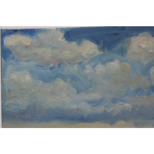 """Impressionist Impressionist Small Oil Painting on Canvas Board """"Hudson Valley Skies"""" by Listed Artist John Elliot For Sale - Image 3 of 12"""