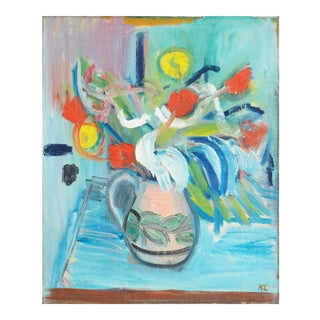 'Still Life of Red and Yellow Tulips in a Blue Room' by Karl Larsen, Circa 1925; Charlottenborg, Paris For Sale