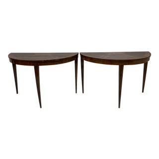 Italian Inlaid Mahogany Demilune Consoles - a Pair For Sale