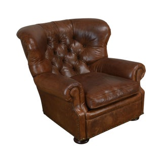 Ralph Lauren Tufted Brown Leather Writers Club Chair For Sale