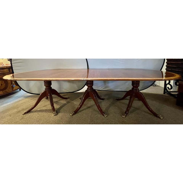 Regency Style Triple Pedestal Dining Room Table Banded and Fully Refinished For Sale - Image 12 of 13