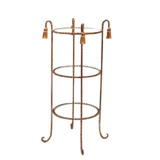 20th Century Maison Bagues Tassel Rope 3 Tier Table For Sale