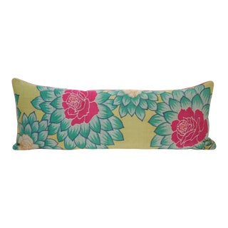 Japanese Lotus Kimono Silk Pillow For Sale