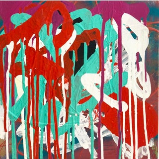"""Contemporary Abstract Pigmented Ink on Panel """"Now & Again"""" by Mirtha Moreno For Sale"""