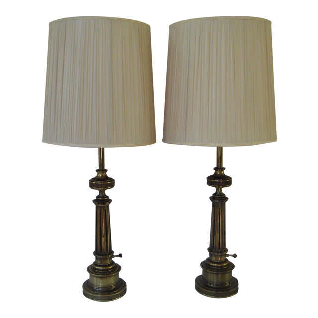Stiffel Federal Style Brass Table Lamps - A Pair - Image 1 of 7