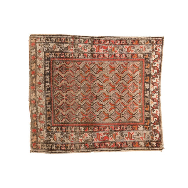 "Antique Hamadan Square Rug - 4'1"" x 4'9"" For Sale - Image 12 of 12"