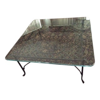 Vintage Square Glass Coffee Table With Solid Cast Iron Base For Sale