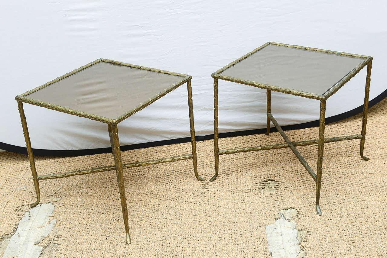 Bronze Pair Of Bagues Style Bronze And Bronze Mirrored Side Tables For Sale    Image 7