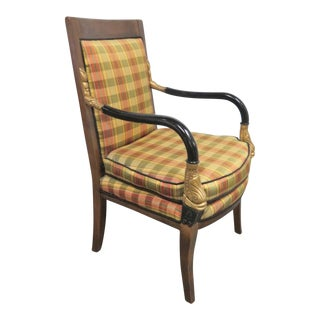 French Empire Style Fruitwood Gilt Ebonized Carved Chair For Sale