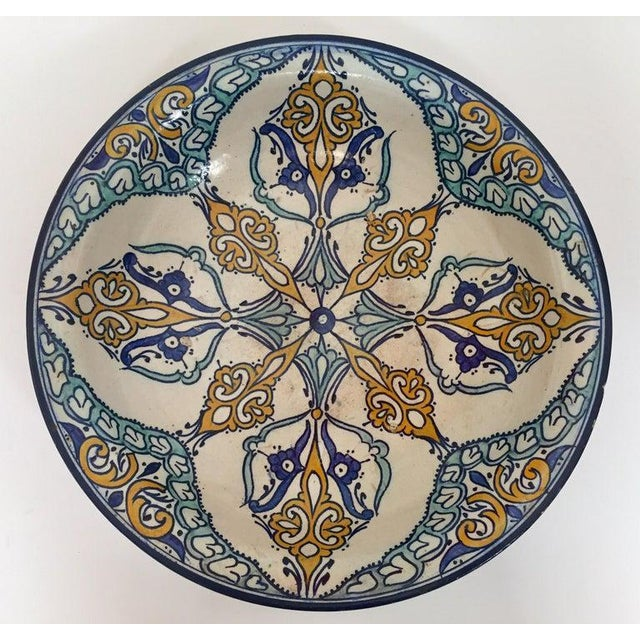 Moroccan Large Ceramic Plate Bowl From Fez For Sale - Image 13 of 13