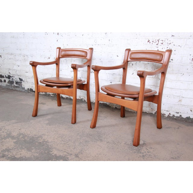 1960s Sculpted Solid Teak and Leather Studio Crafted Club Chairs - a Pair For Sale - Image 13 of 13