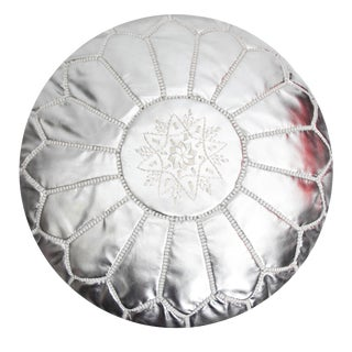Boho Atlas Silver Leather Pouf