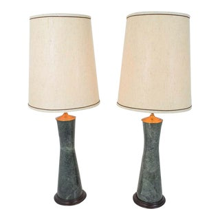 Marble Table Lamps in Teal - a Pair For Sale
