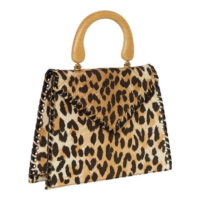 Yves Saint Laurent Leopard Animal Print Canvas Wooden Top Handle Bag, 1990s For Sale