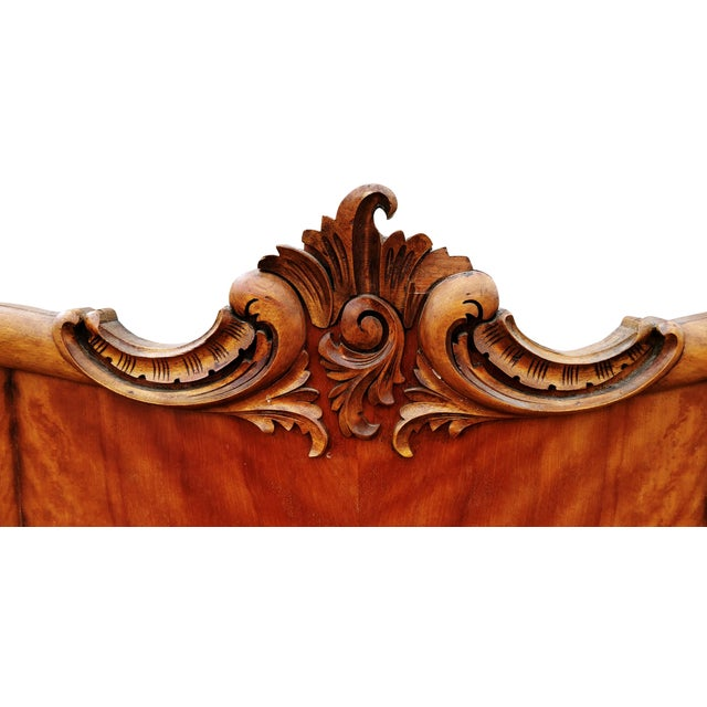 Hollywood Regency Antique Tiger Maple Full Size Hand-Carved Bed For Sale - Image 3 of 8