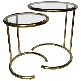 Mid-Century Modern Brass Nesting Side Tables For Sale