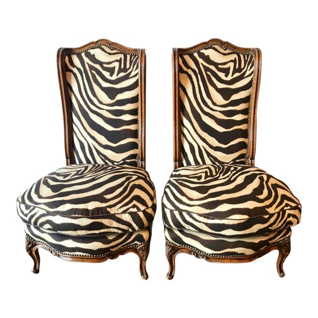 Early 20th Century Vintage French Walnut Chauffeuse Slipper Chairs- A Pair For Sale