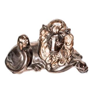 Vintage Gilded Lion Statue