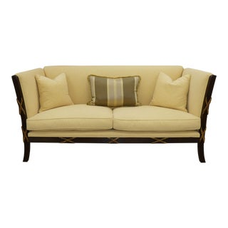 Transitional Exposed Wood Flared Arm Loveseat With Carved X-Detailing For Sale