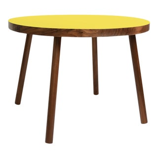 "Poco Large Round 30"" Kids Table in Walnut With Yellow Top For Sale"