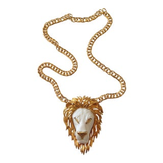 Vintage Gold and White Lion Head Necklace