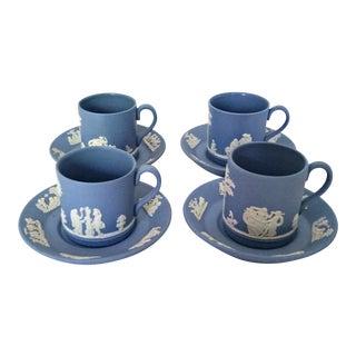 Vintage Wedgewood Jasperware Cream on Lavender (Lt Blue) Demitasse Coffee Cups & Saucers -Set of 8 For Sale