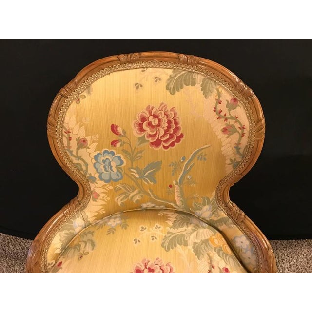 Louis XV Style 2 Tone Gold Leaf Boudoir Chair For Sale - Image 5 of 9