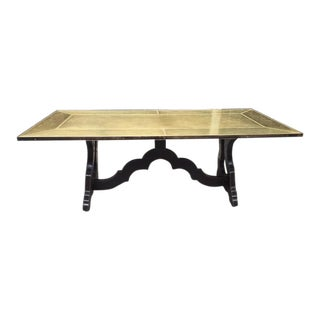 Spanish Bronze Etched Top Trestle Table For Sale