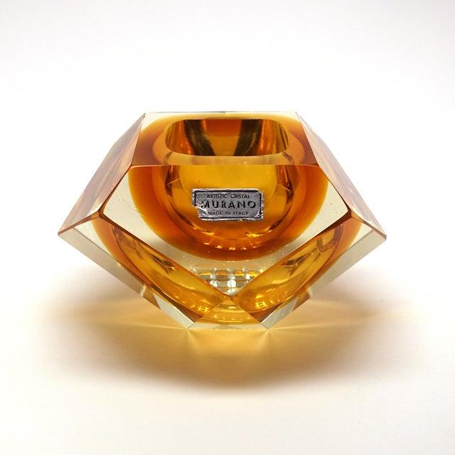 Orange 1960s Vintage Mandruzzato Murano Gold Glass Diamond Cut Block Trinket Dish For Sale - Image 8 of 8