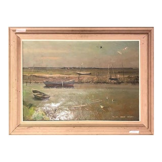 Oil on Canvas Signed Maxwell Stewart Simpson Dated 1956 Row Boots For Sale