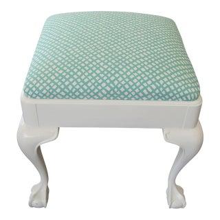 Aqua Trellis Upholstered White Stool For Sale