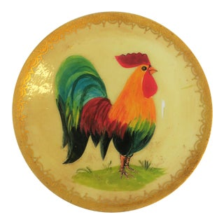 Signed French Rooster Bird Painting Wall Plate For Sale