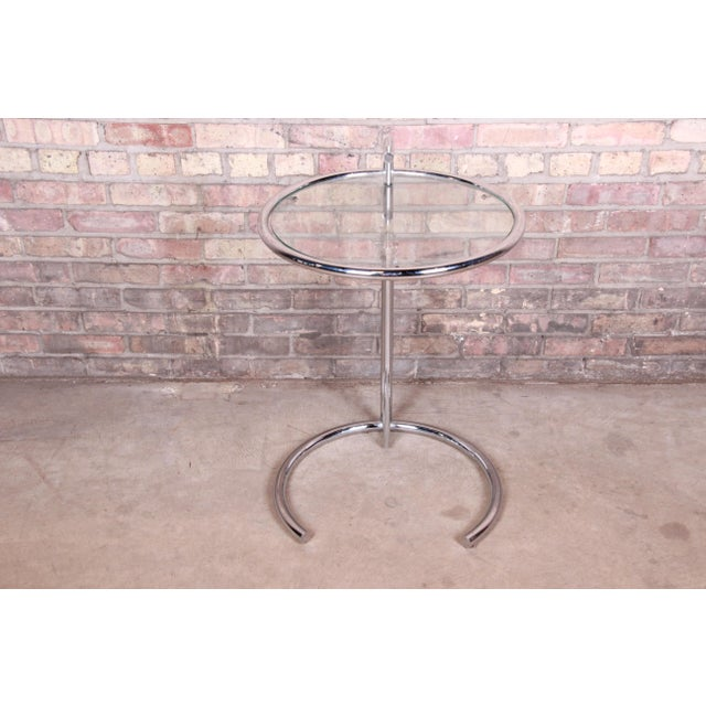 Metal Eileen Gray Chrome and Glass Adjustable Height Occasional Side Table For Sale - Image 7 of 13