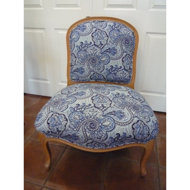 French Vintage Blue Paisley French Provincial Armless Chair For Sale - Image 3 of 8