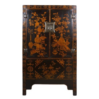 19th Century Chinese Gilt Black Wardrobe For Sale