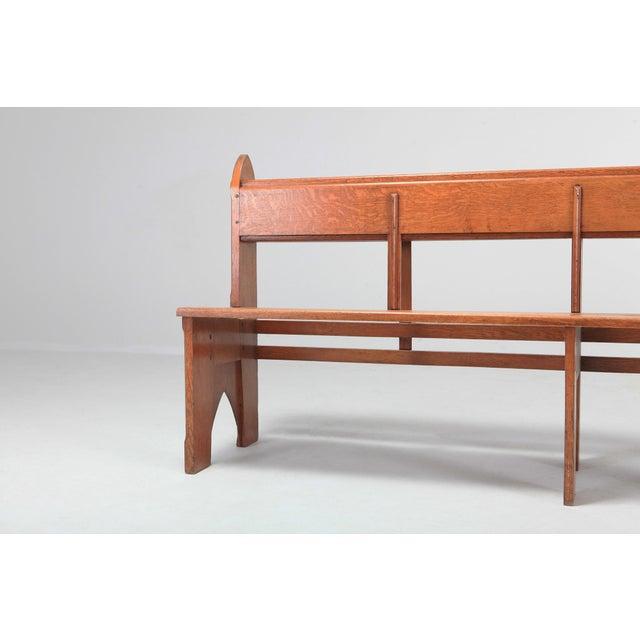 Mid-Century Modern Solid Oak Bench Wabi Sabi Style For Sale - Image 6 of 9