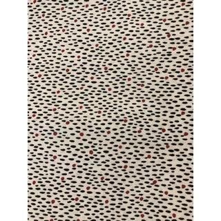 Vintage Schumacher 1980 Black Red Dot Pattern Fabric Remnant 1 Yard For Sale