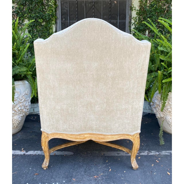 19th Century Antique Early 19c Carved Louis XV Style Wingback Arm Chair For Sale - Image 5 of 6