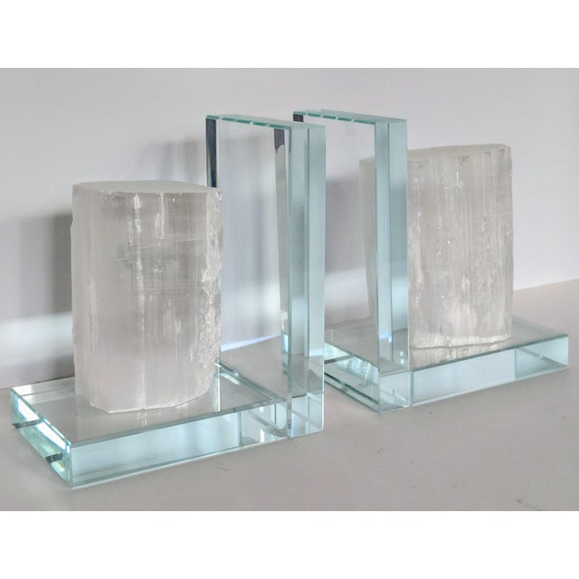 Lead Crystal & Selenite Bookends - Two (2) For Sale - Image 10 of 11