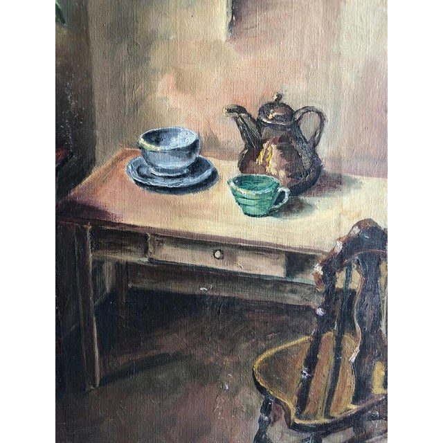 "Sitting Room Still Life Painting Signed ""Bert. Lobberegt 1952"" For Sale - Image 4 of 10"